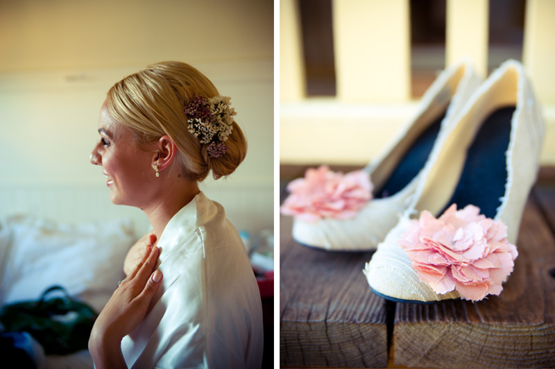 Portrait of bride getting ready in Anchor Bay, CA