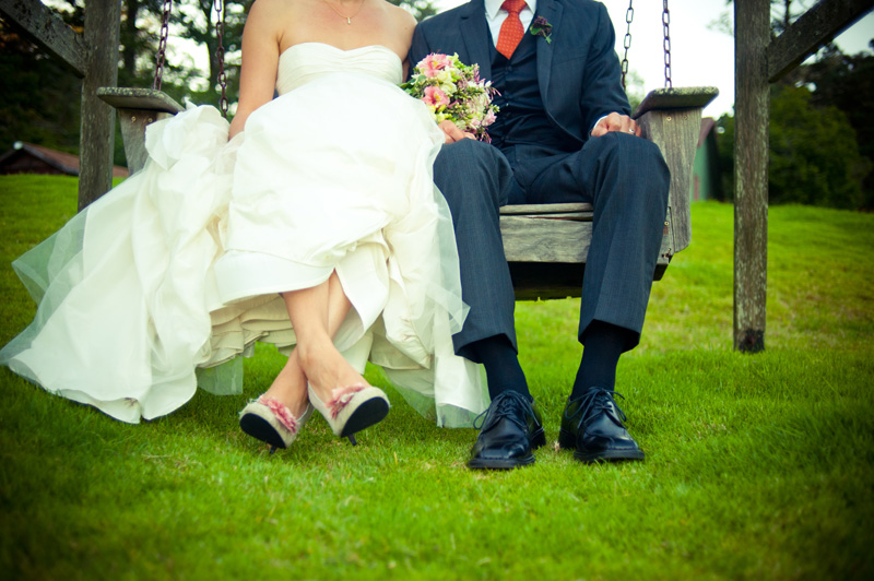 Detail of bride and grooms shoes