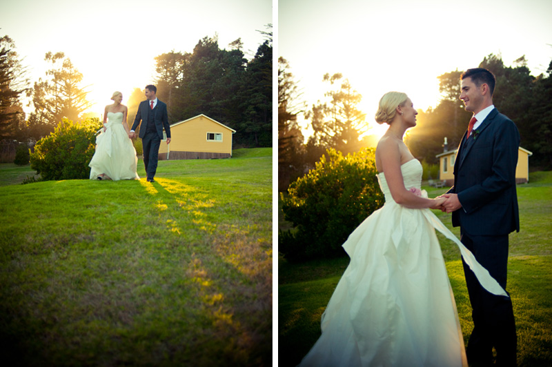 Bride and Groom at Mar Vista Cottages at Sunset