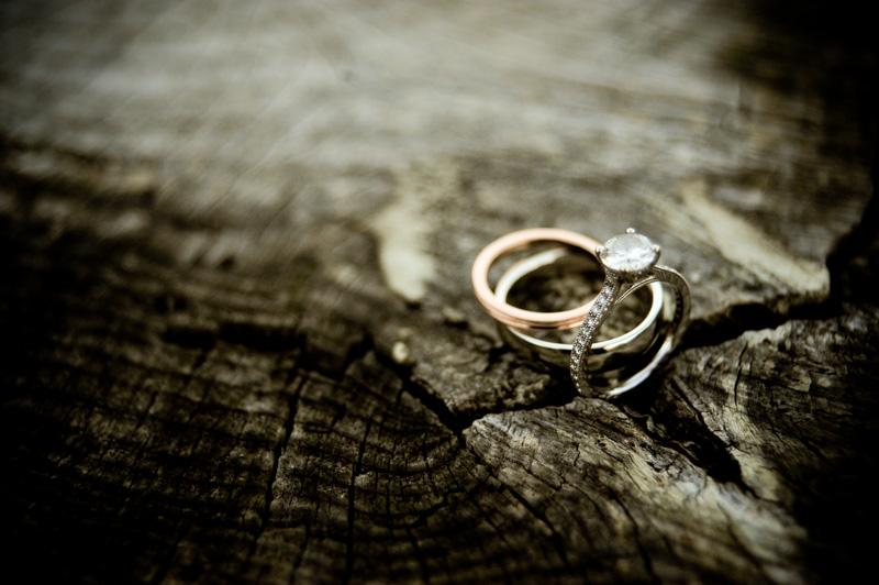 Detail of wedding rings on rustic tree stump