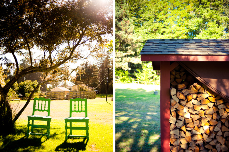 Rustic chairs and covered woodpile at Mar Vista Cottages