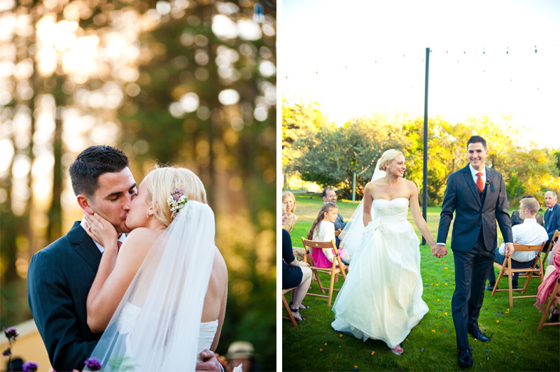 Bride and Groom kiss in Anchor Bay, CA