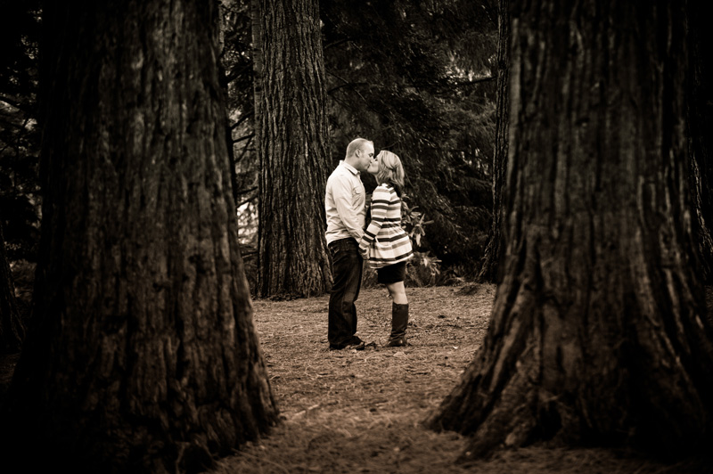 Couple in redwoods kissing