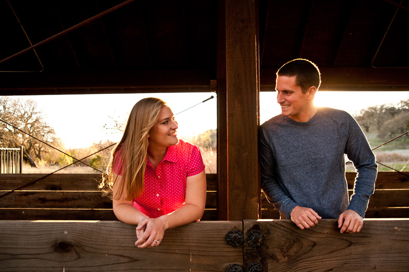 Couple under covered bridge in Fairfield, CA