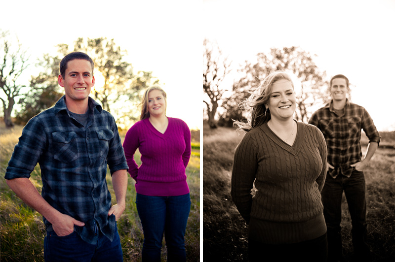 Portraits of couple in field in Fairfield, CA