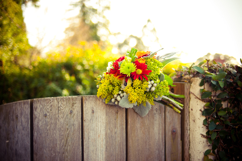 Bouquet on fence at home in Berkeley, CA