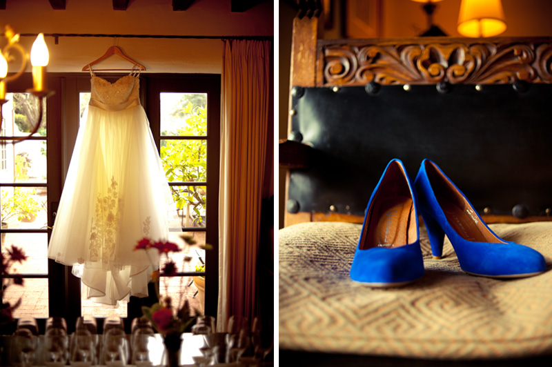 Wedding dress and shoes at home in Berkeley, CA