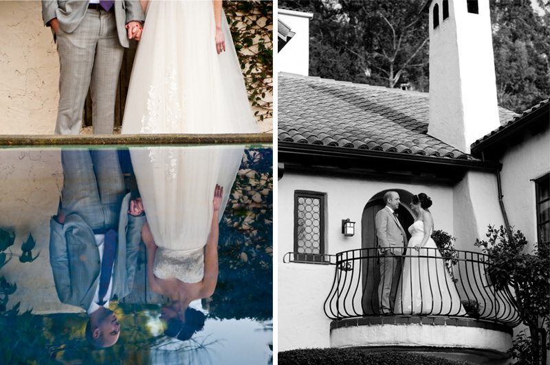 Bride and groom together on balcony and in reflection pool at home in Berekely, CA