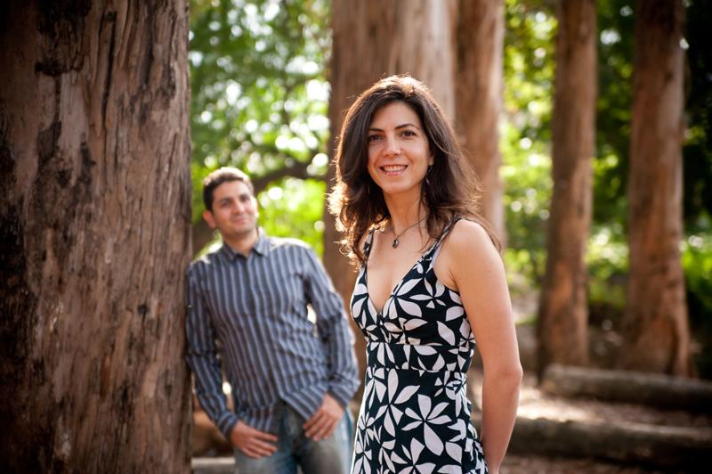 Engaged couple portrait in U.C. Berkeley Eucalyptus Grove