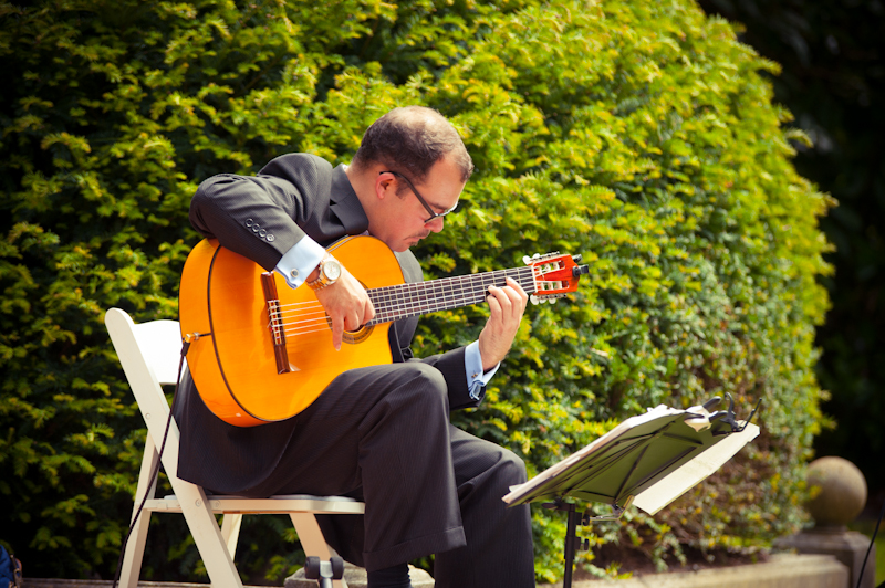 Musician performing at wedding in Golden Gate Park