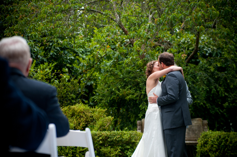 Bride and Groom kissing at Golden Gate Park in San Francisco