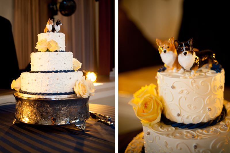 Wedding cake with Corgi detail in Piedmont, CA