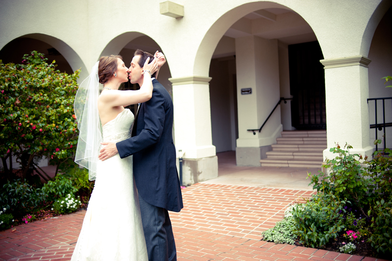 Bride and Groom kissing in Piedmont, CA