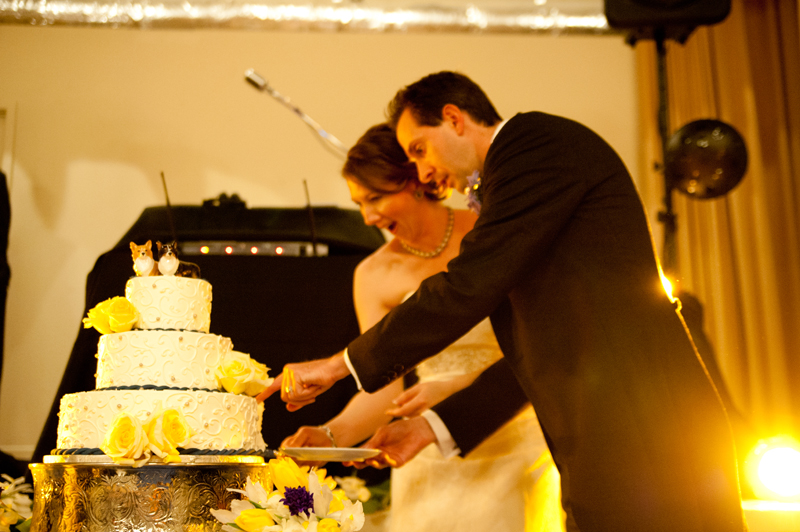Bride and Groom cutting cake in Piedmont, CA