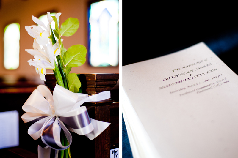 Ceremony details in Piedmont, CA