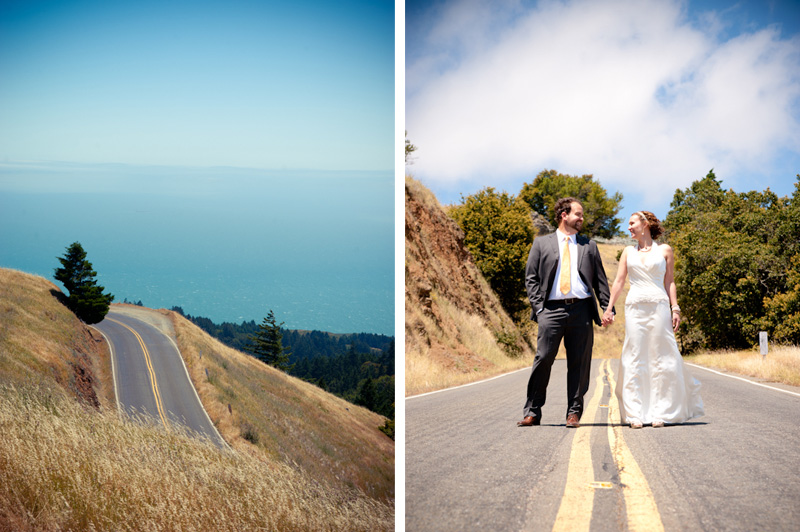 Bride and Groom standing on Highway 1 in Marin