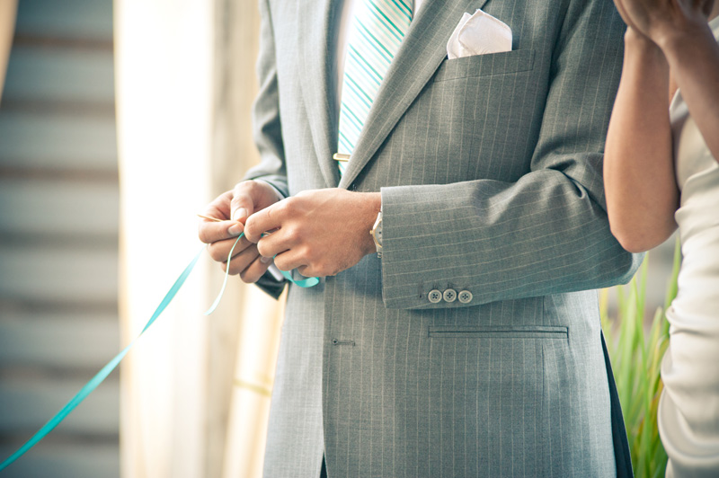 Groom holding ring warming string