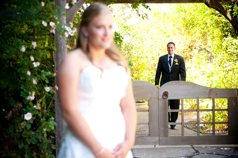 Groom approaching Bride for first look