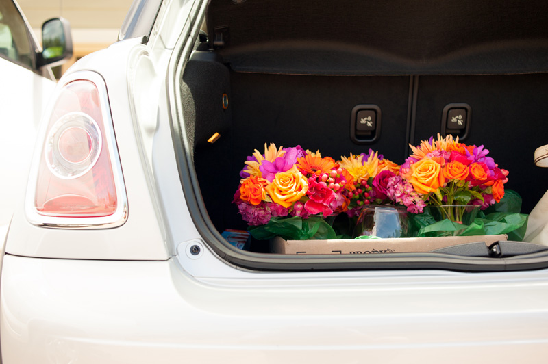 Bridal bouquet's in back of car
