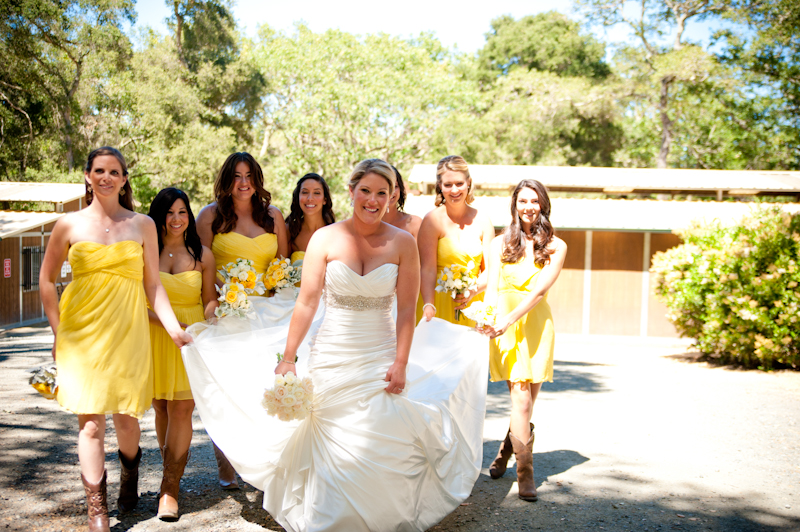 Bridesmaids helping Bride with dress in Woodside, CA