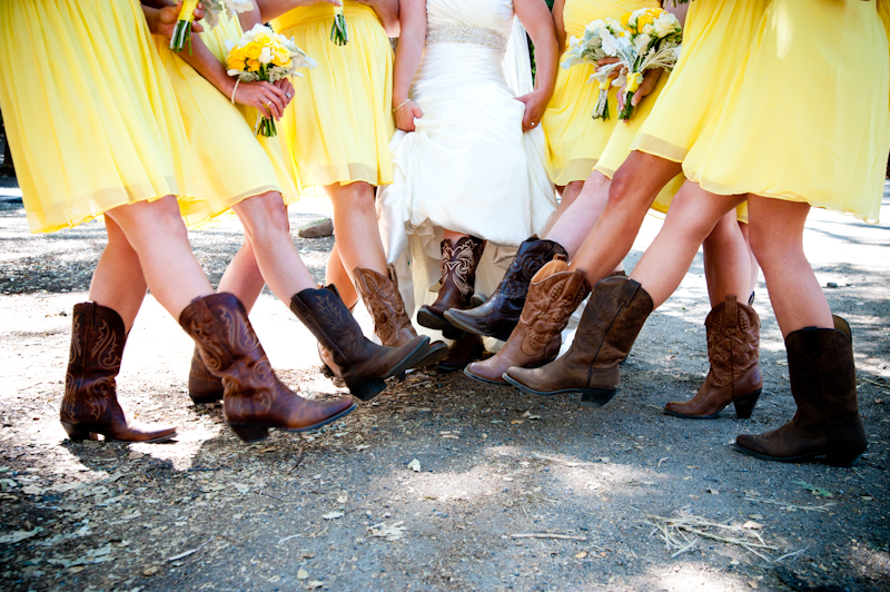 Detail of bridesmaids cowboy boots
