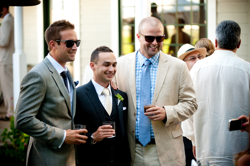 Groom with guests at the Vine Hill House