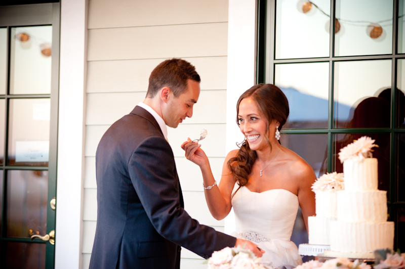 Bride and Groom cutting cake at the Vine Hill House