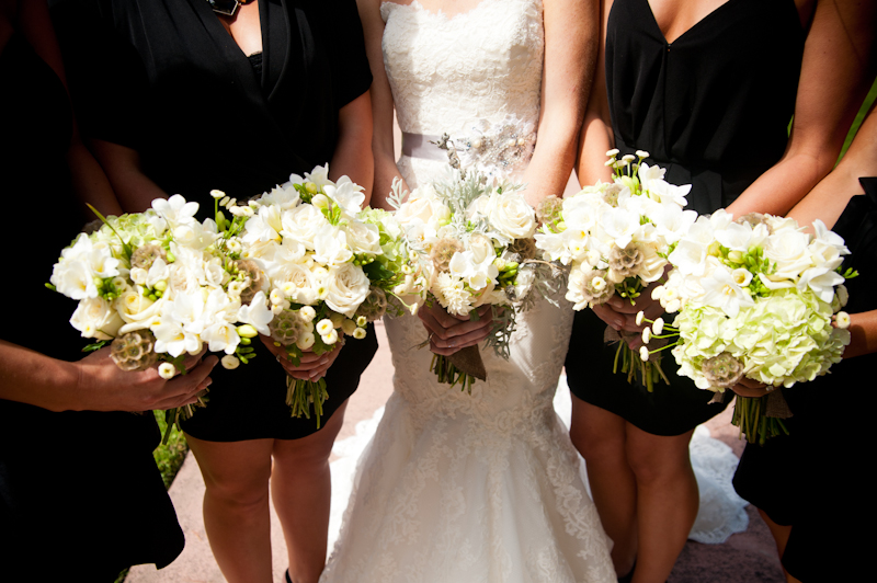 Detail of bridal party bouquets