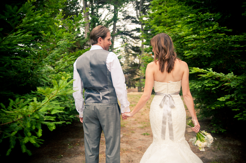 Bride and Groom stroll into redwoods