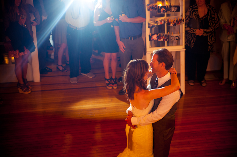 Bride and groom having first dance at the Sesnon House