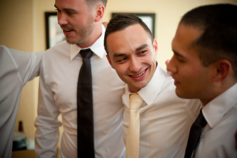 Groom and friends together