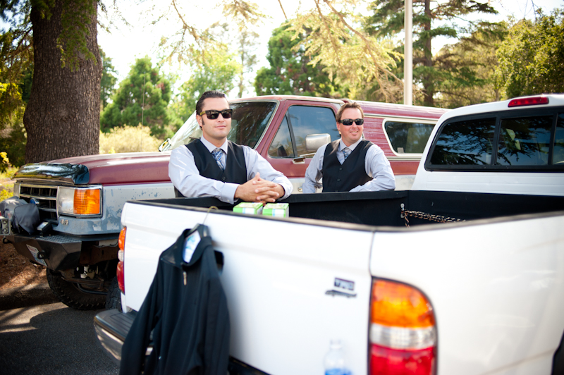 Groomsmen leaning on pickup in Aptos, CA