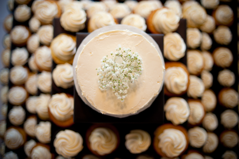 Detail of cupcake tower at wedding