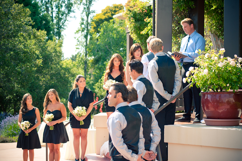 Wedding party on steps of Sesnon House