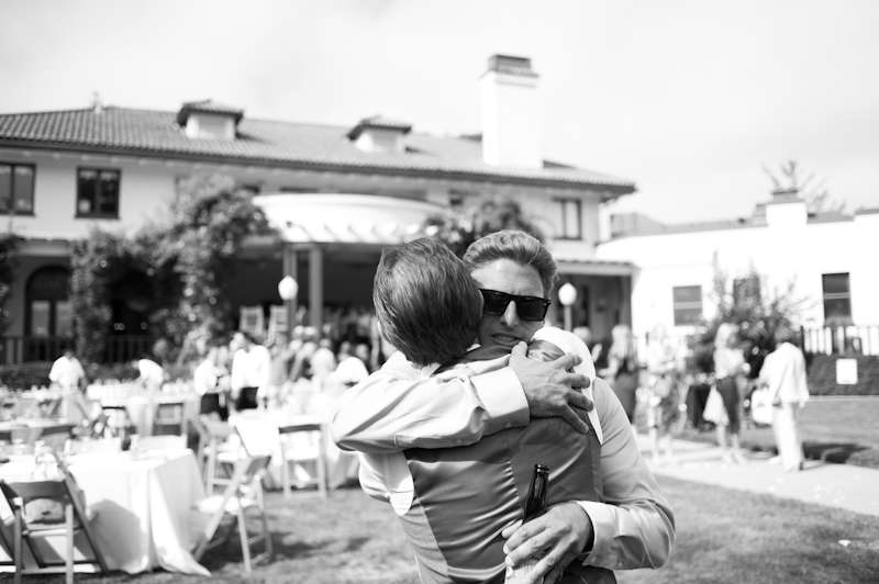 Groom hugging Officiant at the Sesnon House