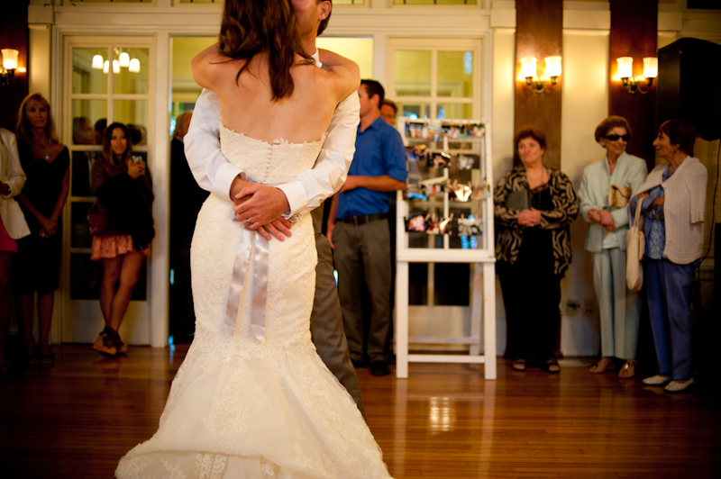 Detail of bride and groom's first dance