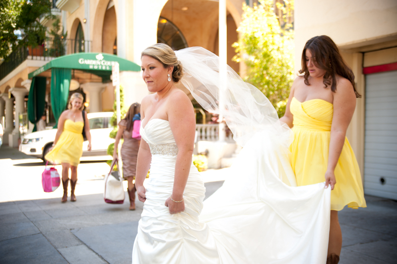 Bride leaving Garden Court Hotel in Palo Alto, CA