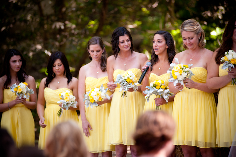 Bridesmaids in a row during ceremony