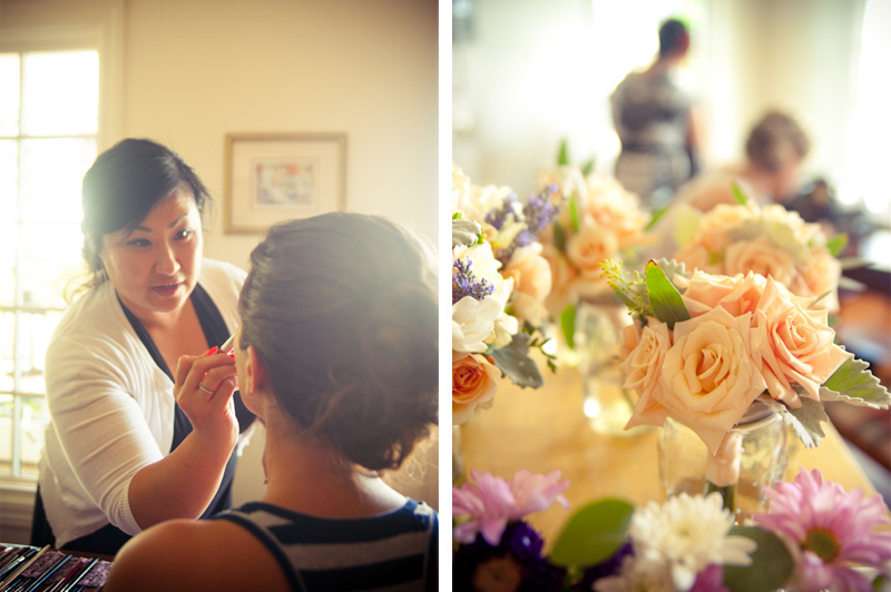 Julianne Chai applying makeup at the Vine Hill House