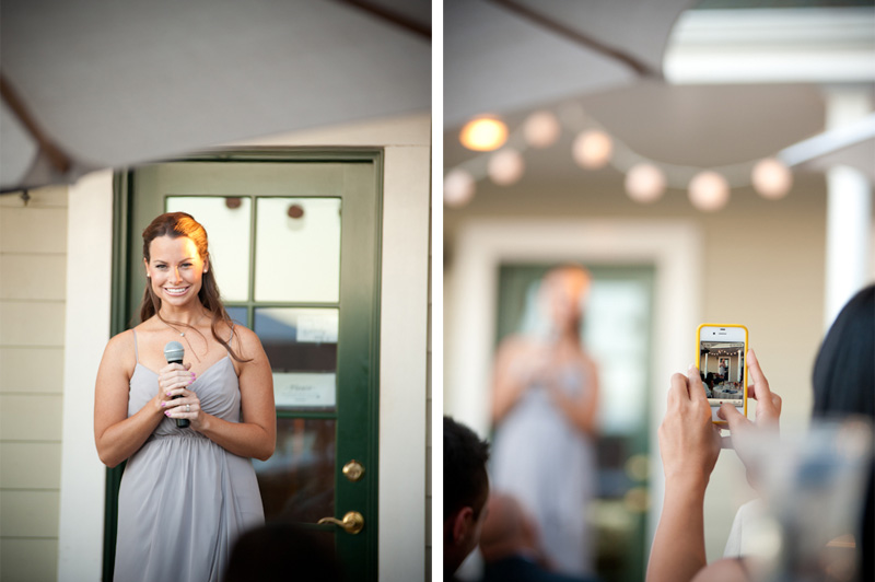 Maid of honor giving toast at the Vine Hill House