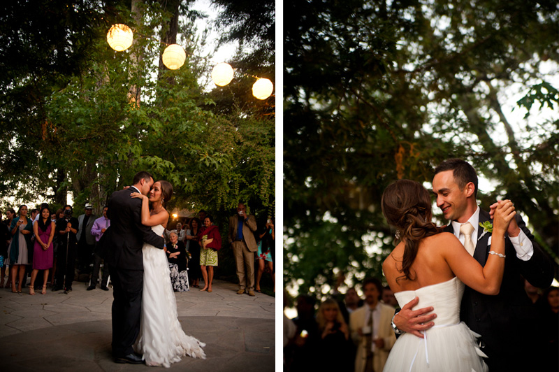 Bride and Groom first dance with paper lanterns