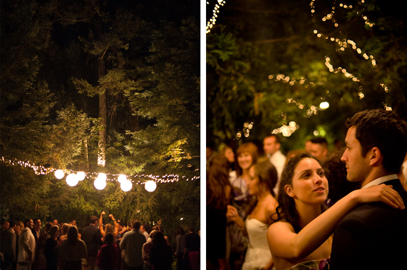 Wedding guests dancing outside at The Vine Hill House