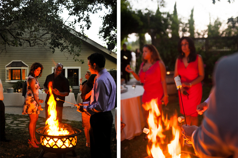 Detail of wedding guests making smores