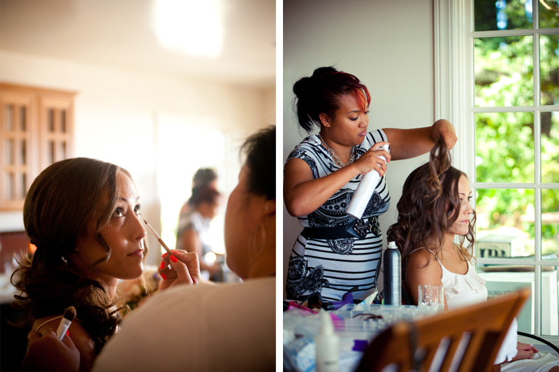 Bride getting makeup and hair but Julianne Chai