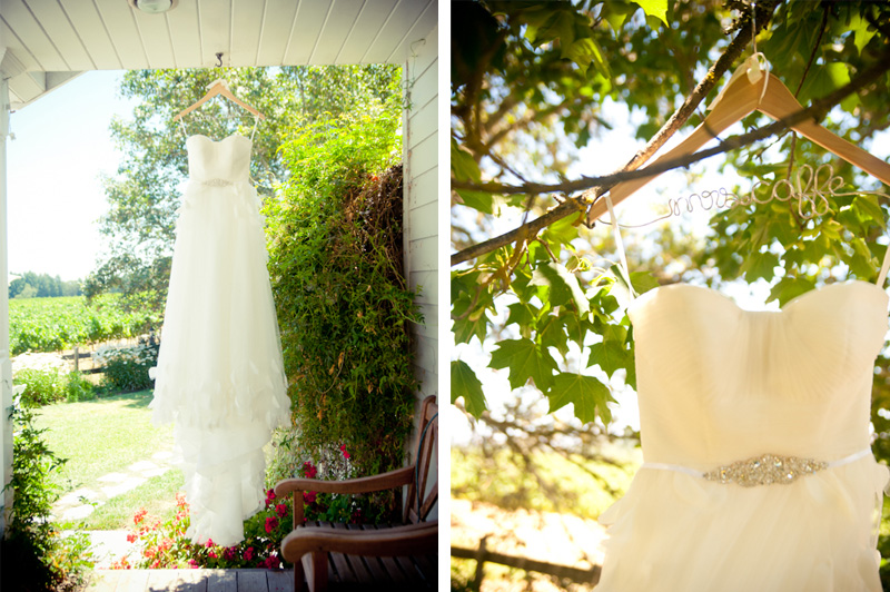 Wedding dress hanging at the Vine Hill House