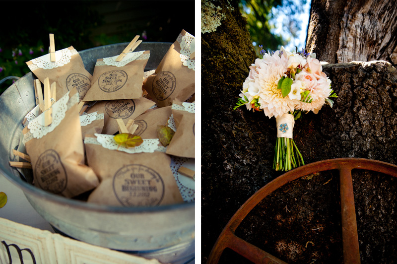 Wedding bouquet and take away treats