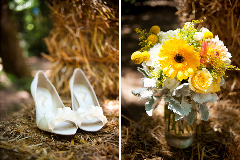 Detail of Bride's Wedding Shoes on hay bail