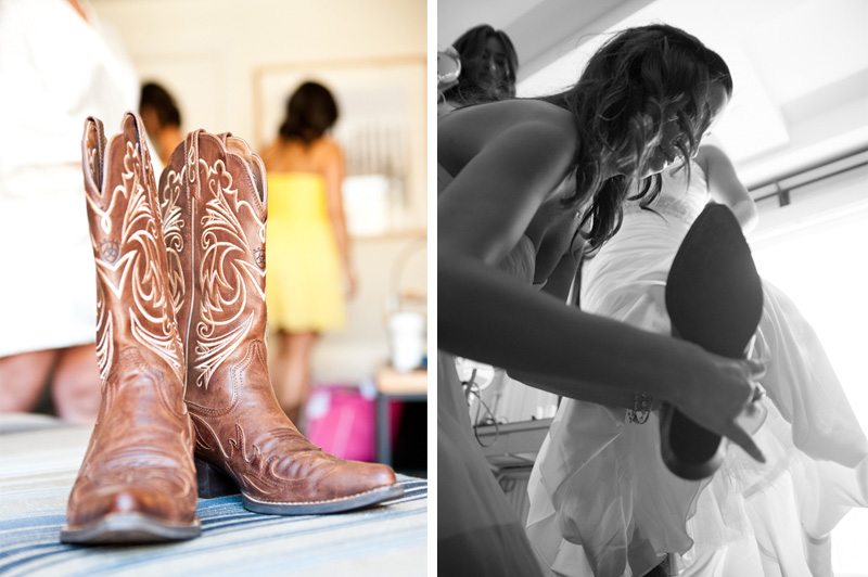 Detail of Bride's cowboy boots
