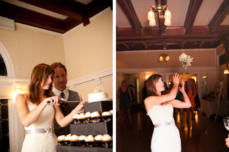 Cake cutting and bouquet toss at the Sesnon House Aptos, Ca