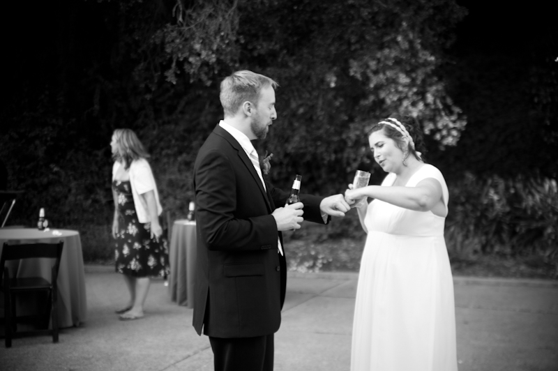 Bride and Groom exchanging fist bump in Oakland, CA